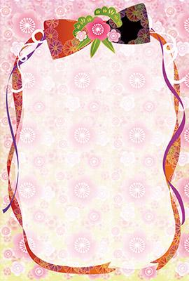 梅や蝶が描かれた優雅で華やかな和風背景イラスト