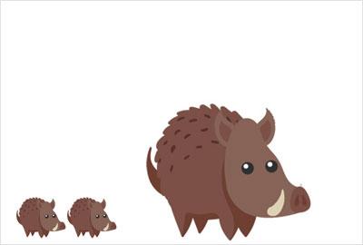 シンプル猪の無料素材2