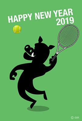 テニスイラスト年賀状2